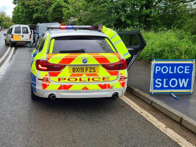 Thames Valley Police have issued a traffic advisory after responding to a single-vehicle collision on the A361 between Banbury and Bloxham this evening, Monday May 24. (Image from TVP Roads Policing Unit's Twitter account)