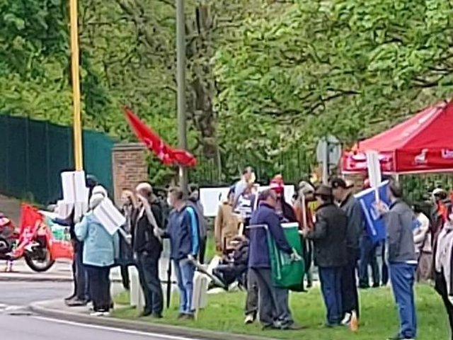 A demonstration outside the JDE coffee factory on Saturday