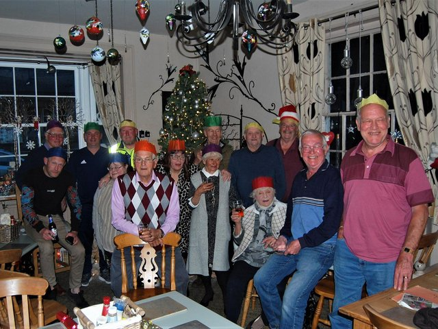 Regulars get into the Christmas spirit in May as lockdown has been eased - and hail lashes the windows