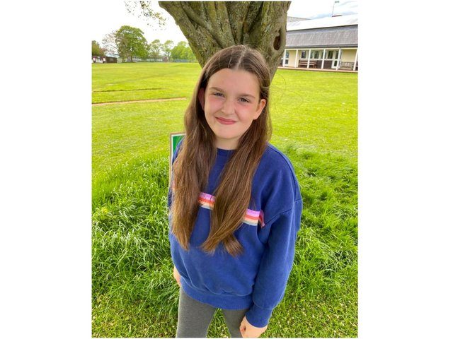 Ten-year-old Peggy King from the Banbury area village Hornton is preparing to have her long locks cut to help charity.