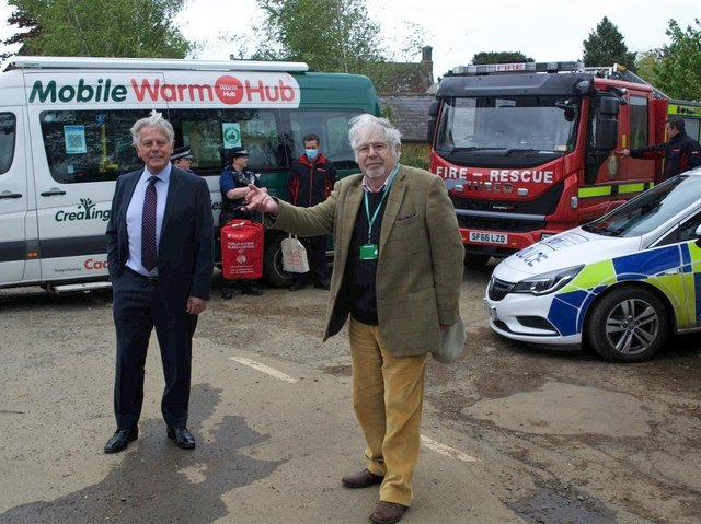 Charity and council officials, including county Cllr Chris Mills (left) help launch and promote Bleed Control Kits at the Shotteswell Village Hall near Banbury