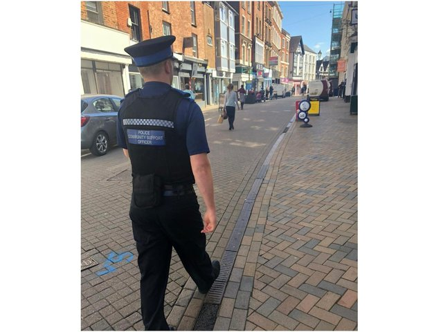 Banbury police from the neighbourhood community policing team patrol the High Street of Banbury (photo from TVP Cherwell Facebook post)