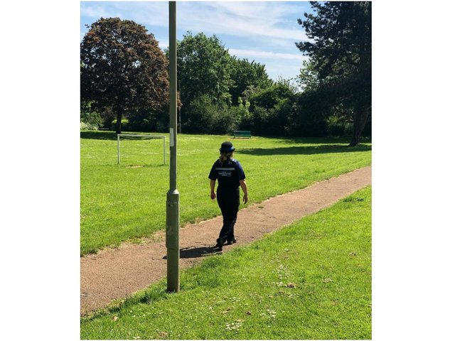 Banbury neighbourhood police team conduct patrols with a focus on illegal e-scooter usage in town (Image from TVP Cherwell Facebook page)