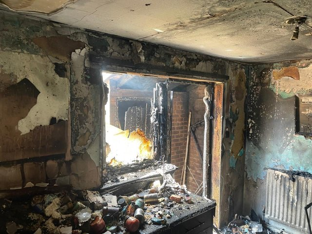 Multiple crews of firefighters responded to a flat fire in Bicester (Image from Oxfordshire Fire & Rescue)