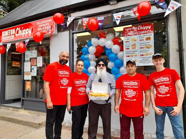 The Kineton Chippy is celebrating National Fish and Chip Day by offering people a free beer with any fish & chip purchase. Children get a cupcake with each fish & chip purchase. (Pictured: Sukhpreet Singh, the chippy's owner, his wife, Juskiran Kaur, her father Makhan Singh, Nirmal Singh and Reece Ballinger)