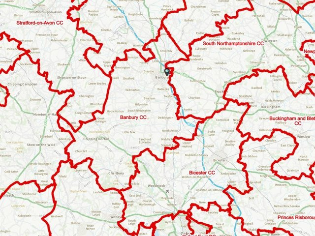 Image of the map for the proposed new constituency boundaries for the Banbury area as published by the Boundary Commission for England (BCE)