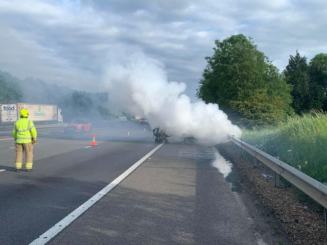Oxfordshire Fire and Rescue crews from Bicester and Kidlington Fire Stations were called to a car fire on the M40 last night (Thursday June 10) near Banbury. (Image from Oxfordshire Fire & Rescue Facebook post)