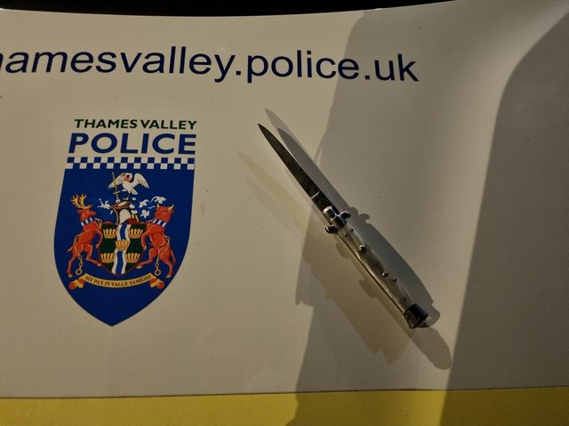 Police arrested a man for carrying a flick knife in Banbury last night, Saturday June 12. (Image from TVP Cherwell Facebook page)