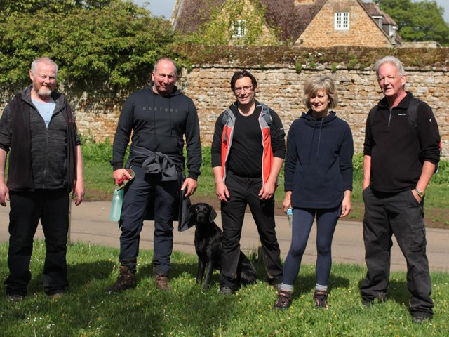 Volunteer walkers with Plunkett Foundation CEO, James Alcock (centre), at the Yew Tree pub in Avon Dassett