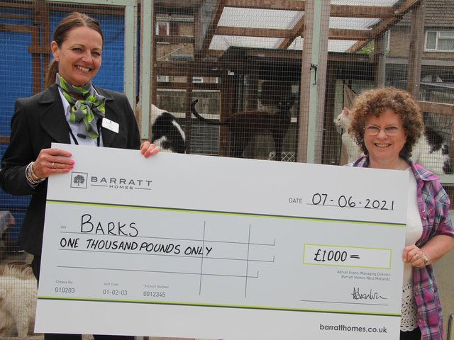 Pictured, from left, at the BARKS cat rescue centre in Bodicote, are Barratt sales adviser, Sarah Bennett, with BARKS Chair Ann Collins.