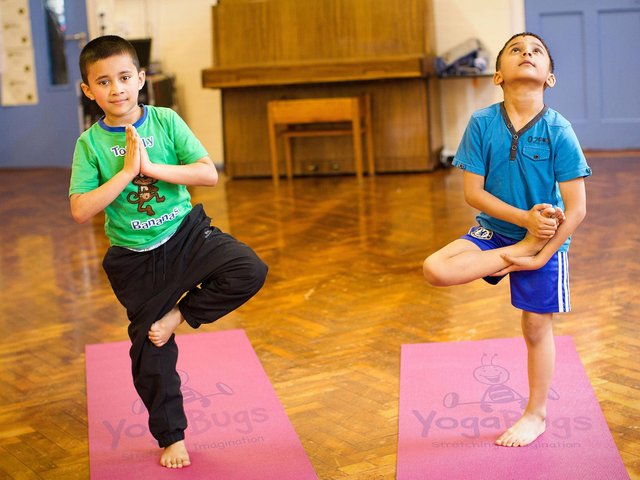 A virtual yoga programme is helping support the mental health and well-being of staff, parents and children at Croughton All Saints Church of England Primary School. (Image submitted from the YogaBugs programme)