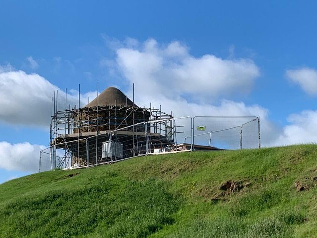 Conservation work has started to repair the Beacon tower located within Burton Dassett Hills Country Park. (photo by Chana Projects)