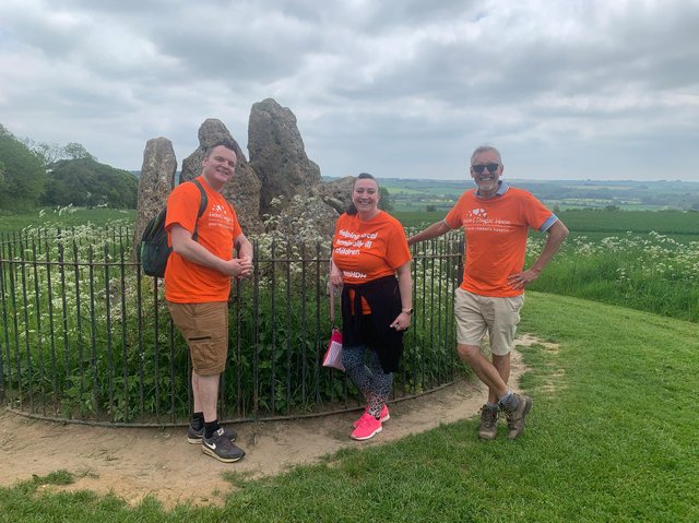 Members of the informal networking group, Business Buzz, have completed the Chipping Norton leg of a 90-mile net-walk of Oxfordshire in aid of Helen & Douglas House children's hospice. (pictured: Team at The Rollright Stones - Paul Kielman of Kielman Mortgages, Katrina Sargent of Business Buzz HQ and Simon Gunn of Thunder design agency)