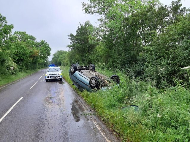 Traffic advisory for motorists travelling on the B4086 Banbury Road near Kineton after a single-vehicle road traffic collision. (Image from the Wellesbourne Police Facebook page)