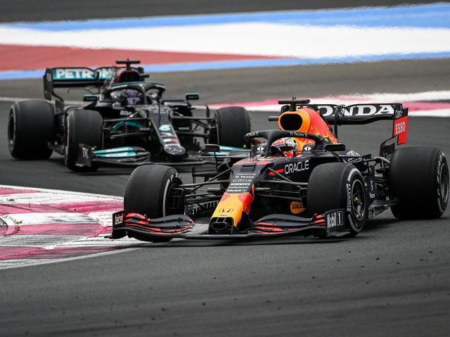 Max Verstappen leads Lewis Hamilton in France