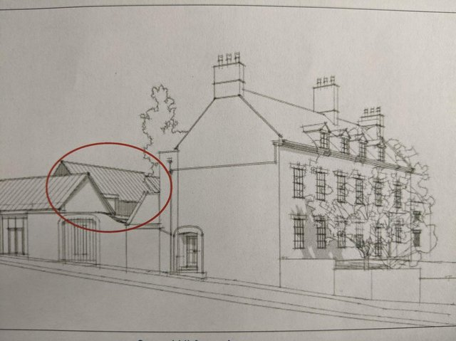 An artist's impression of the proposed dormitory block behind historic Stone Hill House in Stone Hill, Bloxham