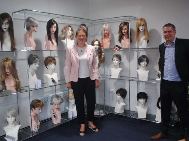 Victoria Prentis, MP for North Oxfordshire, visited Banbury Postiche, the UK's oldest wig making supplies company, to mark its centenary celebrations. She's pictured with the company's owner, Nick Allen (Submitted photo from Banbury Postiche)