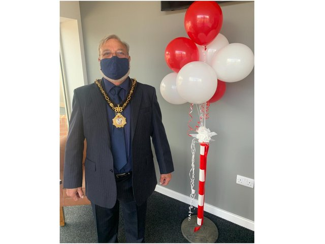 The mayor of Brackley, Cllr Don Thompson, officially reopened the Brackley Town Football Club events space, 'The Venue' after two years of hard work and reconstruction following the devastating fire in 2019. (Image from Brackley Town Twitter account)