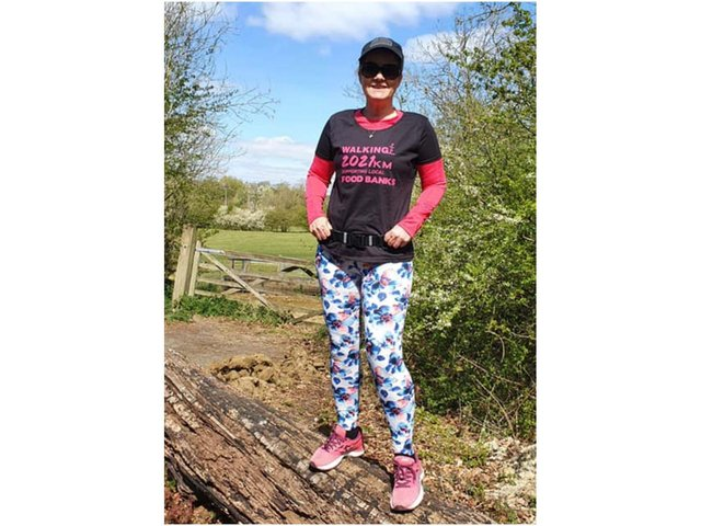 Leonie Beck has launched a 2021K walking challenge to benefit the Brackley area food bank. (photo during the challenge in April)