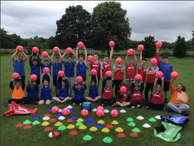 Banbury area school - Wroxton Primary - gets £500 worth of football equipment as part of the Monster Kickabout scheme. (Image from Wroxton Primary School)