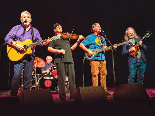 Fairport Convention - l - r, Simon Nicol, Gerry Conway, Ric Sanders, Dave Pegg and Chris Leslie who have been forced to postpone their festival until next year