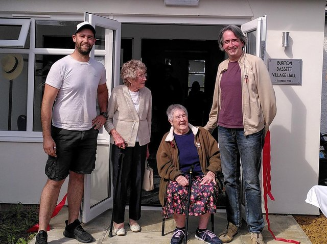 Pictured, l - r are builder Sam White, guests of honour Betty Williams and Joyce Benfield and James Gordon-Cumming, treasure of the village hall committee.