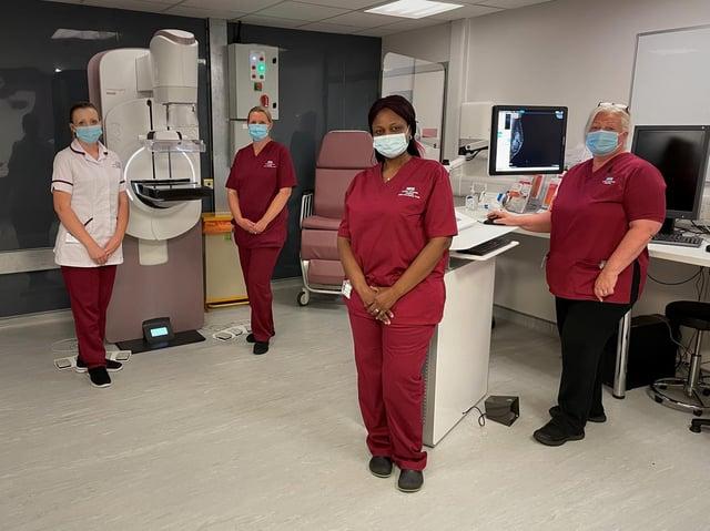 From  l- r Horton General Hospital mammographers Julie Bishop, Nina Raygada, Mireille Wamba, and Head Mammographer Teresa Mandeman