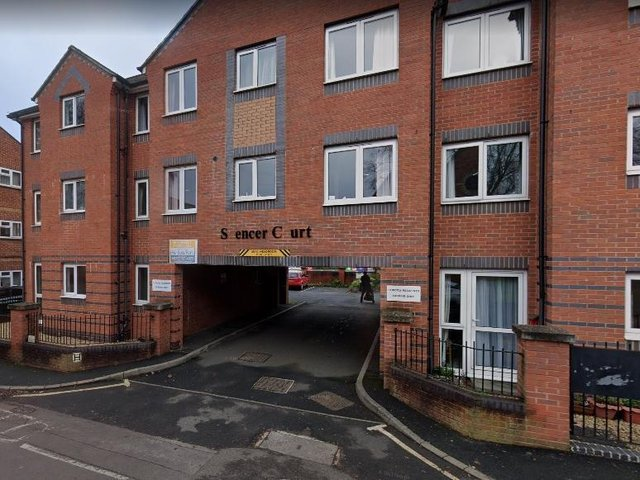 Spencer Court where a broken lift has left residents on upper floors stranded. Landlords hope it will be fixed this week. Picture by Google