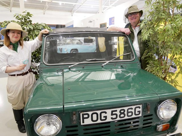 Costumed explainers Annie and Alex exploring nature in the collection at British Motor Museum. Photo supplied
