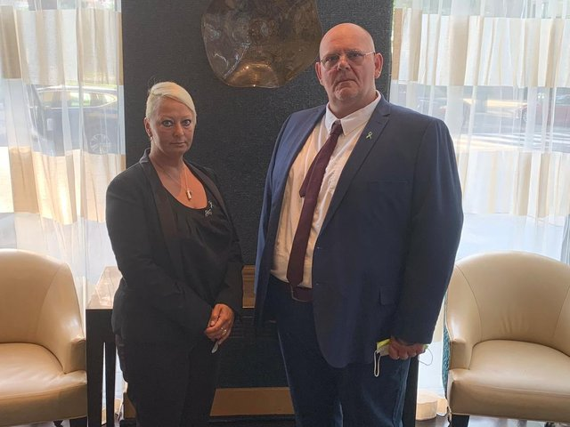 Harry Dunn's parents, Charlotte Charles and Tim Dunn, ahead of giving evidence in their damages claim against Anne Sacoolas in the Alexandria District Court in Virginia, United States