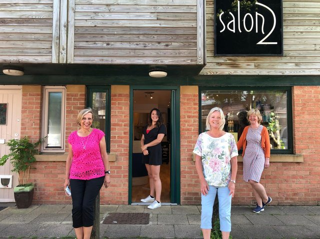 Staff at the Hook Norton hairdressers - Salon 2 - Jill Deller, Georgina Winter, Adrianne Barnett Hunt and Sandra Fathers who will be getting their glam on for Katharine House Hospice charity event 'Not the Midnight Walk' next week. (Image from Katharine House Hospice)