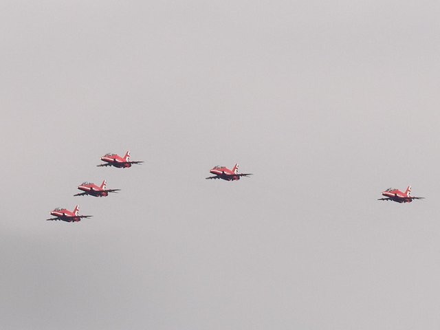 The world famous Red Arrows flew over the area and Banbury resident, Junior Williamson, managed to click a photo of them as they flew over his garden. (photo by Junior Williamson)