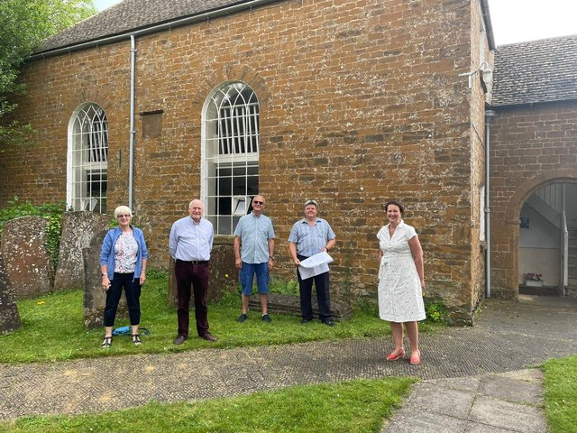 Banbury MP Victoria Prentis visited Hook Norton Baptist Church ahead of its plans to renovate the church's grade II listed chapel.  (Pictured members of the church congregation and Victoria Prentis)