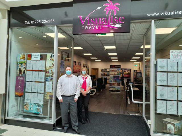 Darrell Evans, the owner of Visualise Travel, with a colleague inside the Castle Quay Shopping Centre in the Banbury town centre is ready to help plan your next big holiday