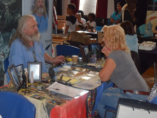 Visitor hears about Odin Shamanic Society at previous Mind Body Spirit show